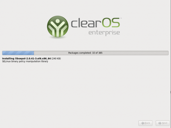 ClearOS Enterprise Alpha 2 -Installer